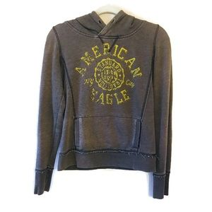 American Eagle Outfitters Grey Distressed Hoodie